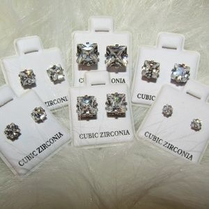 Jewelry - 6 pairs of square cubic zirconia stud earrings